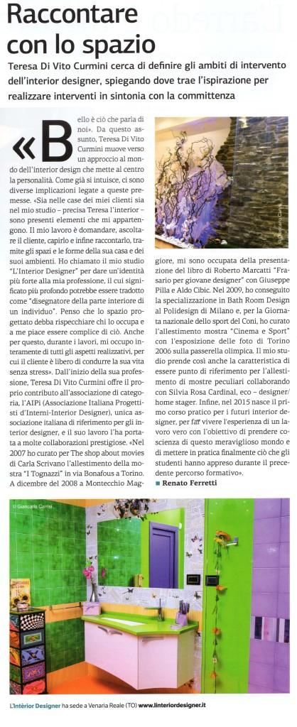 Articolo L'INTERIOR DESIGNER_Nord Economia_2015